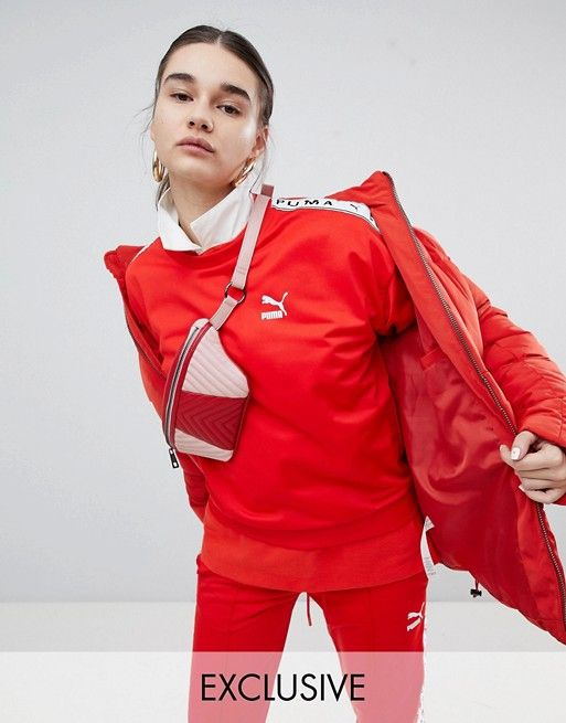 Puma Exclusive To ASOS Sweatshirt With Taping In Red
