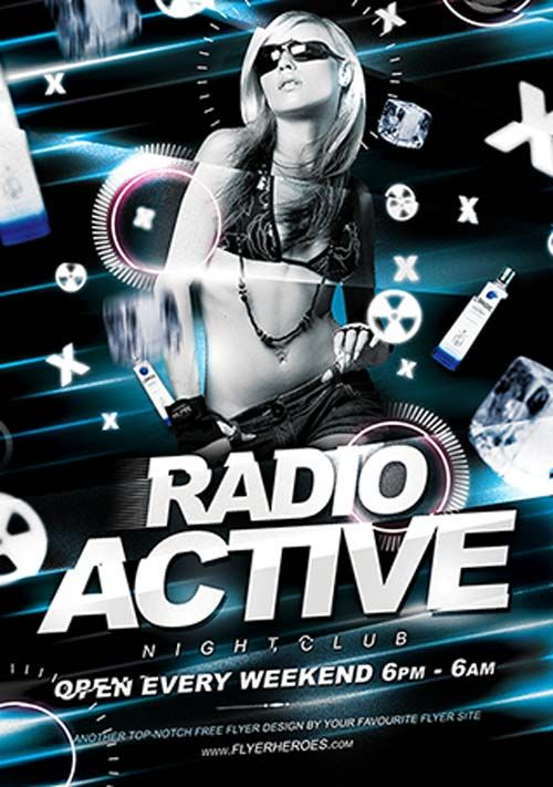 Free Radio Active Flyer Template - http://ffflyer.com/free-radio-active-flyer-template/ Radio Active has a futuristic / electronic / techy design style that lends itself very well to promoting club night and electronic music events.  #Club, #Dance, #Edm, #Electro, #Lounge, #Music, #Party, #Techno, #Trance