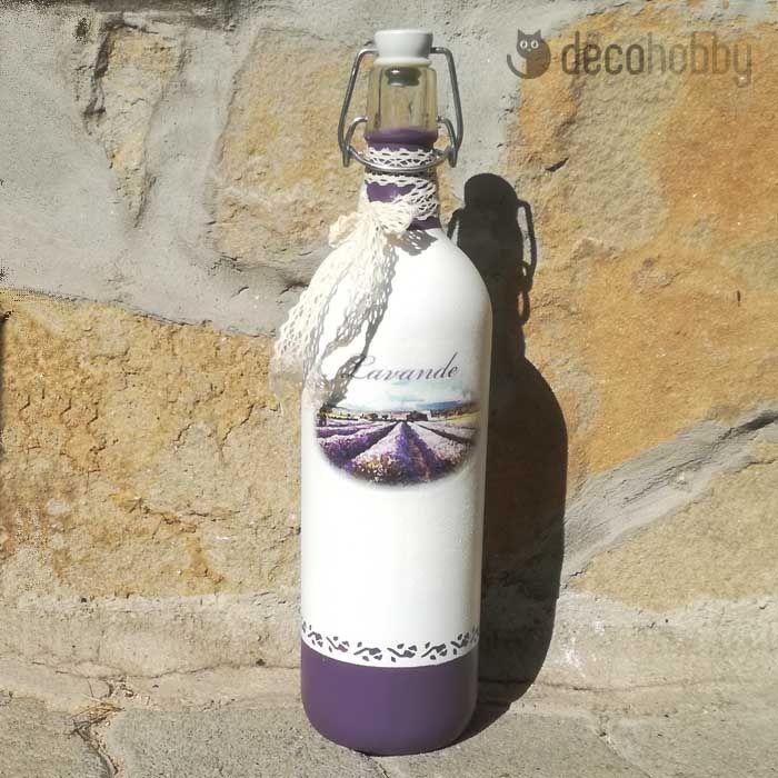 Levendulás csatos üveg, díszüveg - Lavender   DecoHobby