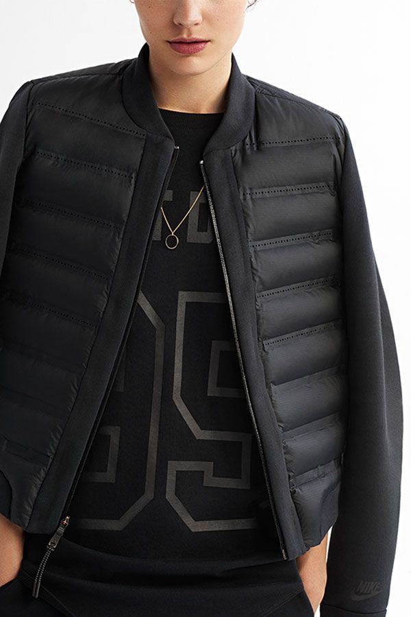 All black is in. Blend sport and style with the chic, army jacket-