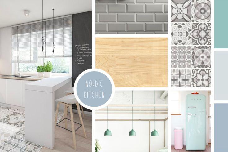 Moodboard Nordic Kitchen  #decoscandinave#nordicstyle#whitekitchen#haystool#metrotiles#smeg