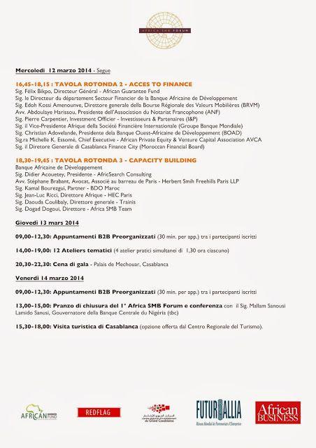 Programma 2/2 1° Africa SMB Forum di Casablanca