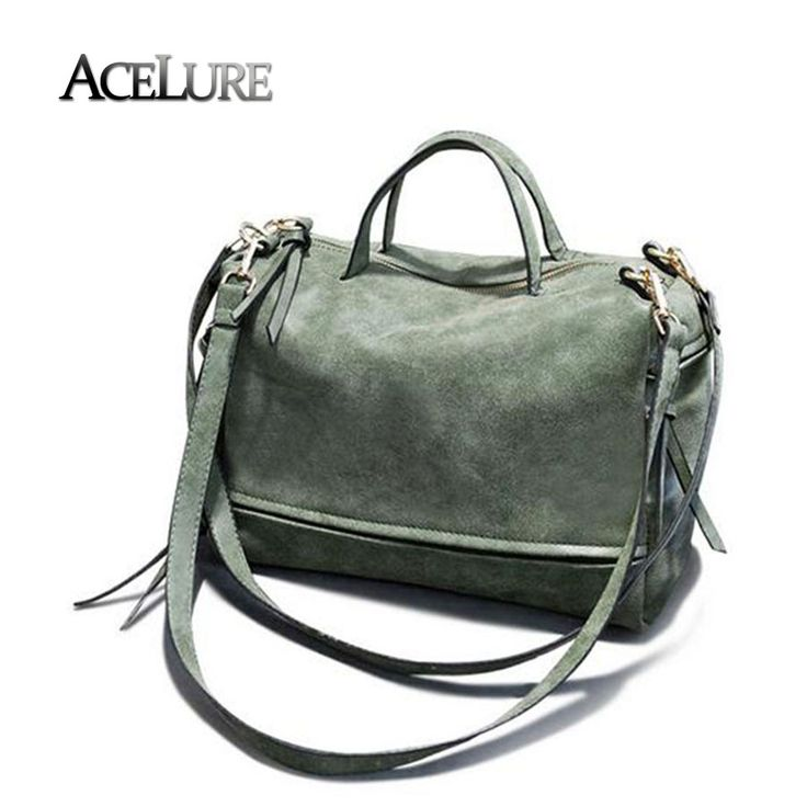 Women pu leather handbags female vintage nubuck crossbody bags green tote bag bolsa feminina ladies shoulder bags motorcycle bag