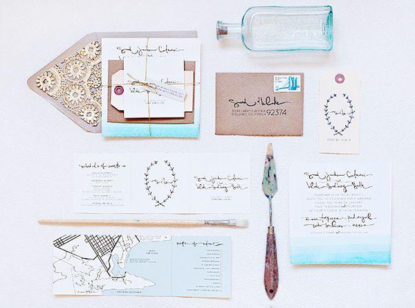 Dip Dye Destination Wedding Invitations via @Oh So Beautiful Paper: http://ohsobeautifulpaper.com/2013/11/sarah-blakes-dip-dye-destination-wedding-invitations/ | Design: @Suite Paperie | Photo: Lindsay Nathanson #dipdye #wedding