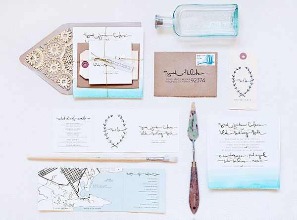 Dip Dye Destination Wedding Invitations via @Oh So Beautiful Paper: http://ohsobeautifulpaper.com/2013/11/sarah-blakes-dip-dye-destination-wedding-invitations/ | Design: @Suite Paperie | Photo: Lindsay Nathanson #dipdye #wedding