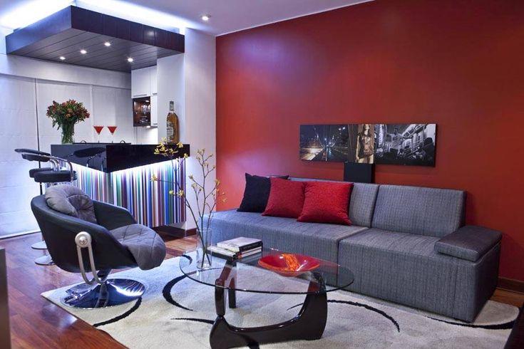 Sala Gris Y Rojo Decoraci 243 N De Casa Pinterest