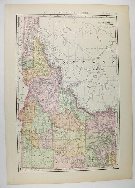 1896 Antique Idaho Map, Vintage Decor Gift for New Home, Vintage Map Idaho, Gift for Friend, Western Wall Art, ID Map, Idaho Travel Map available from OldMapsandPrints.Etsy.com #Idaho #AntiqueMapOfIdaho #HistoryBuffGift
