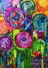Alcohol Ink Art - Number VI by Vicki Barry