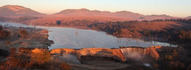 Lake Heritage - the largest hand built stone dam (in Africa/ in the world?), as seen from a hot air balloon