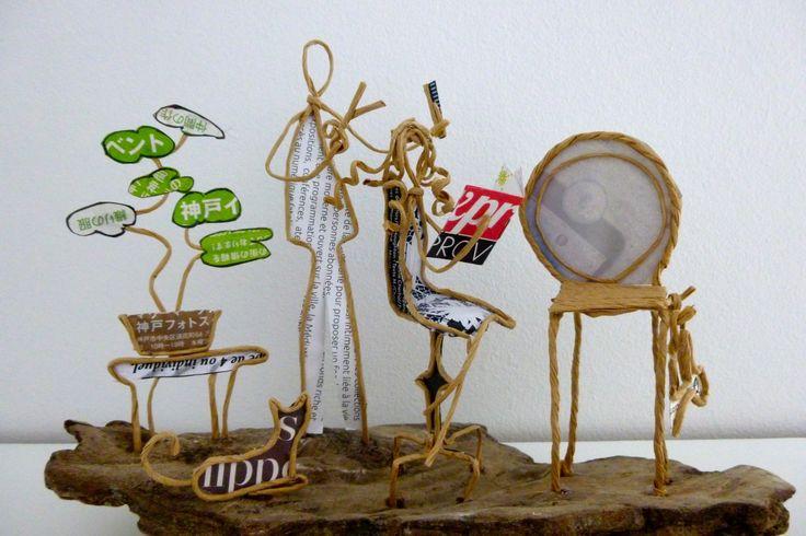Chez le coiffeur - figurines en ficelle et papier : Accessoires de maison par ficelleetpapier