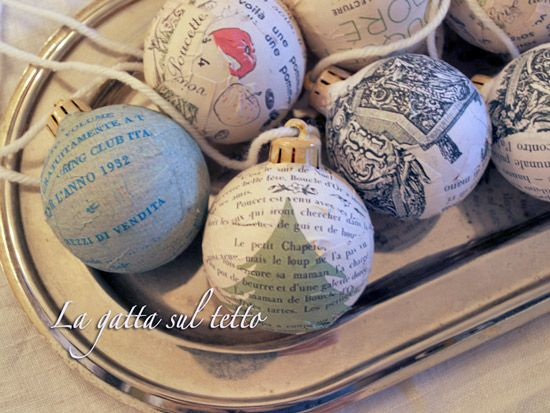 Christmas ornaments covered in decorative papers...