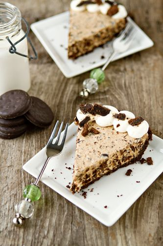 This no-bake pie starts out with a Thin Mint Cookie crust and is filled with a decadent layer of cream cheese and chopped Thin Mint Cookies.