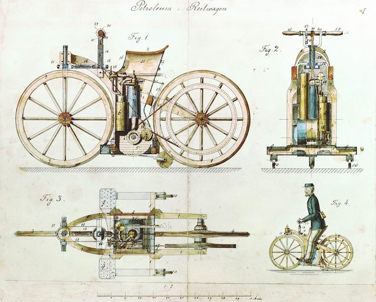 """Daimler Riding Car Drawing  August 29, 1885 - Gottlieb Daimler registers his Reitwagen (""""Riding Carriage"""") with a """"Gas or Petroleum Engine"""" as patent DRP No. 36423. The """"Reitwagen"""" is the world's first motor cycle"""