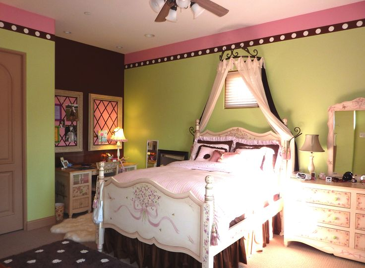 Pink, Chocolate Brown And Lime Green Bedroom Update.