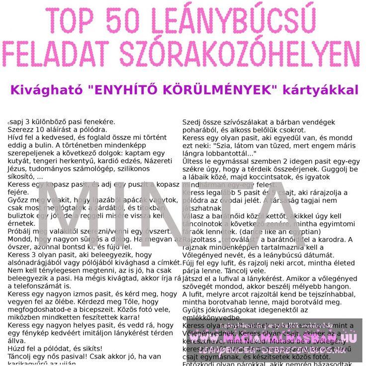 TOP 50 Leánybúcsú feladat szórakozóhelyen