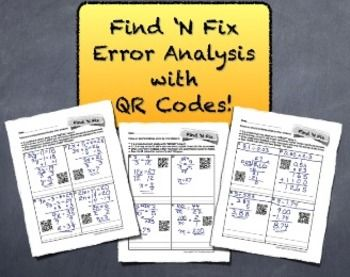 """Middle School Math Error Analysis Bundle ----> QR Code """"Find 'N Fix"""" ----> Students LOVE """"Grading"""" Papers!"""