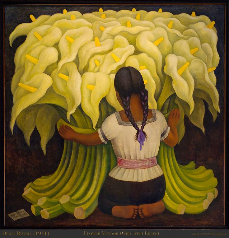 My all time favorite painting... Husband just purchased a print for my home! Diego Rivera, Flower Vendor (Girl with Lillies)
