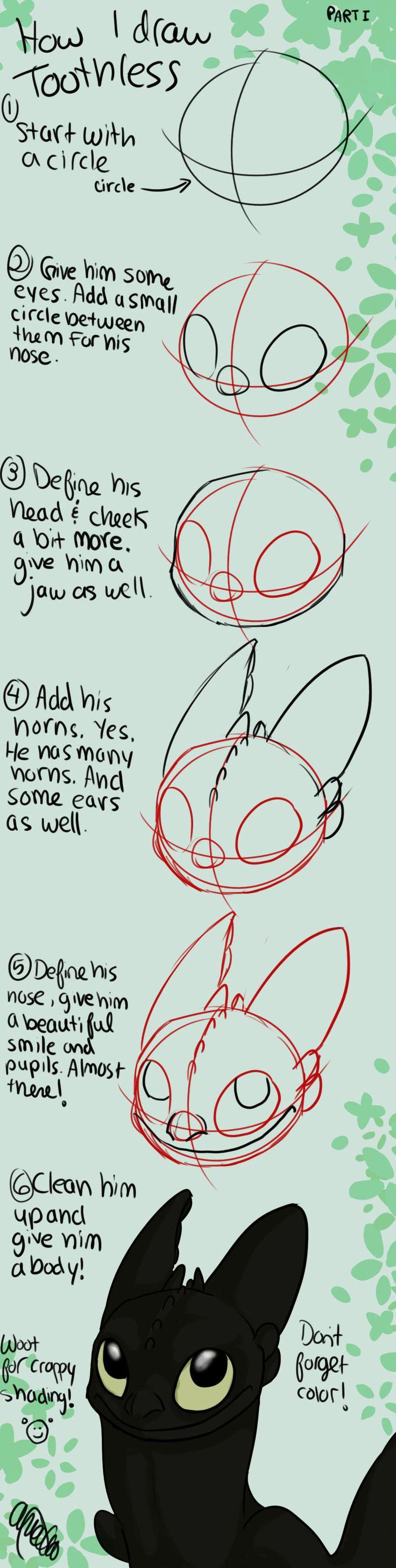 How to Draw Toothless Tutorial by Spiritwollf.deviantart.com on @deviantART
