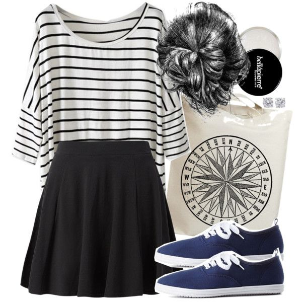 Allison Inspired Outfit with Navy Sneakers by veterization on Polyvore featuring Charlotte Russe, Forever 21, women's clothing, women's fashion, women, female, woman, misses and juniors