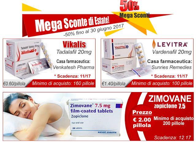 Sconti sui farmaci dell'impotenza e antidepressivi : Clonazepam, Zimovane