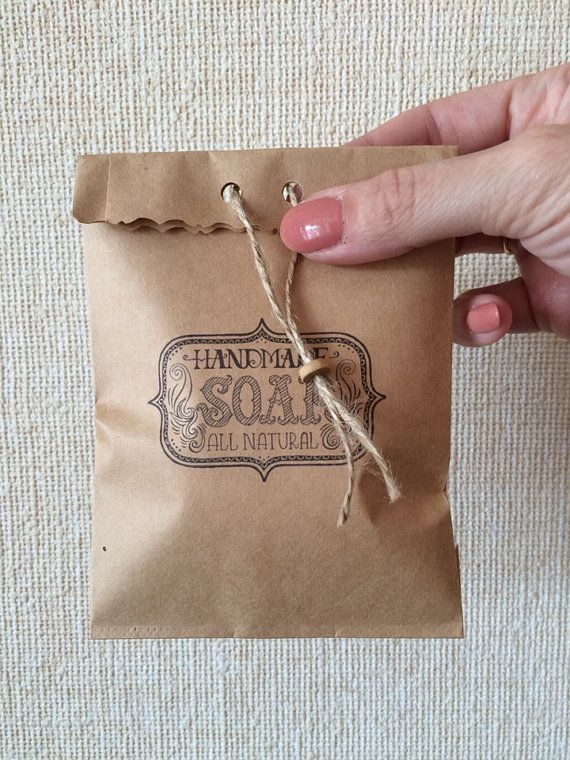 Cute little brown kraft bags with print 19.5 cmX 10 by KrisAlisK