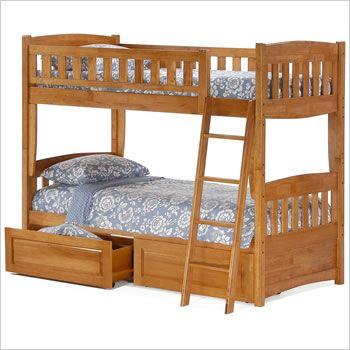 Night and Day Cinnamon Twin over Twin Bunk Bed in Medium Oak