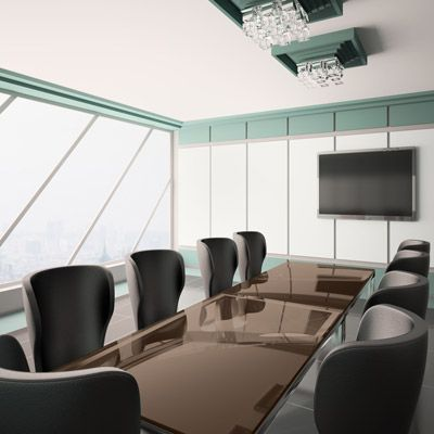 Glass for Conference Room Table. Custom Cut Glass Top In Bronze.  Protect your office furniture with custom glass table tops. You choose the size, shape, edging and color.