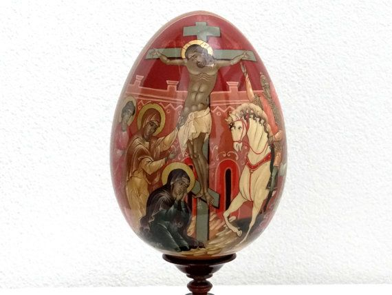 BIG Russian Icon Egg 7 Inch - Crucifixion of Jesus - Christ on the Cross - Easter Egg - Big Wooden Egg Collectible Painting - Orthodox Icon at VintageArtAndCraft