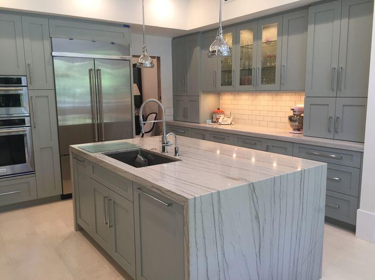 White Macaubas Quartzite countertops - Coral Gables Kitchen   Marmol