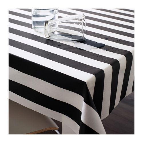SOFIA Plastic-coated fabric, wide stripe, black/white