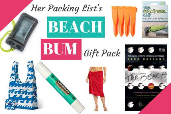 Her Packing List's Beach Bum Gift Pack:  Baggu Bag, Lole Sarong, Aquapac Waterproof iPhone Case, The Beach Towel Clip, The Beach book, Bondi Beach Aroamas. #herpackinglist