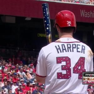 Bryce Harper homers using star-spangled bat on Fourth of July