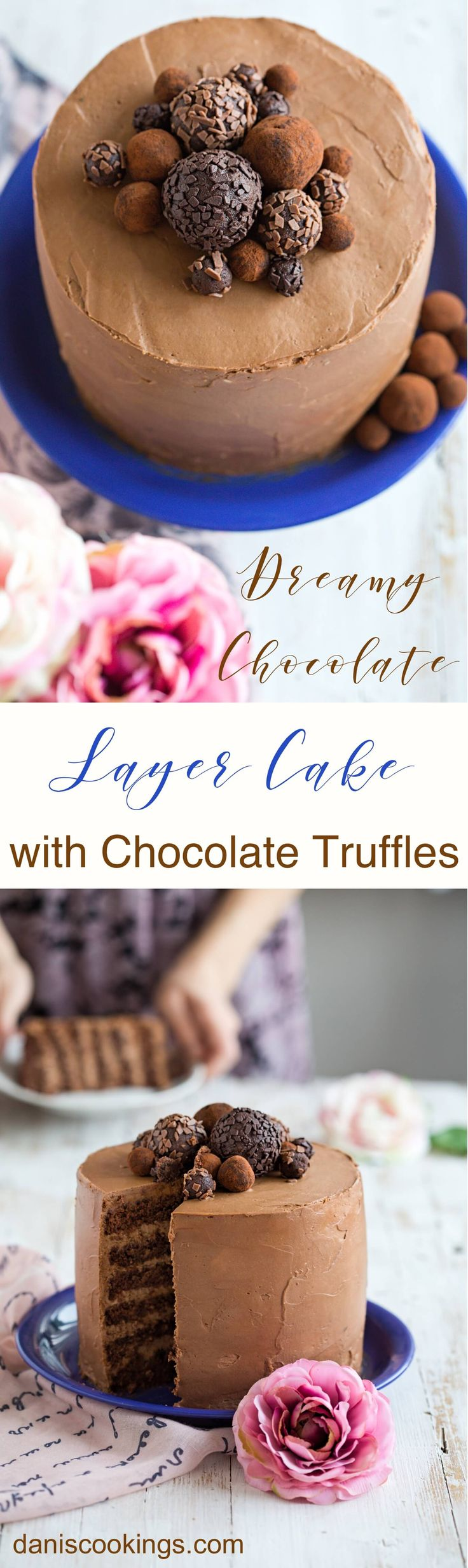 Dreamy Chocolate six layer Cake with delicious ChocolateTruffles - daniscookings.com