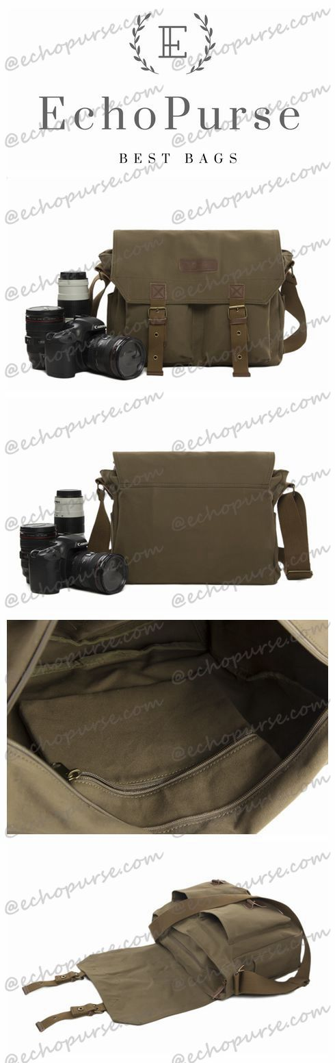 Canvas DSLR Camera Bag, Professional SLR Camera Purse Fit Canon Nikon F1003