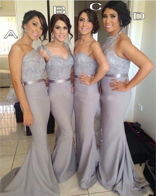 Long bridesmaid dress,  one shoulder bridesmaid dresses, sash bridesmaid dress,mermaid bridesmaid dress,satin bridesmaid gown,15042302