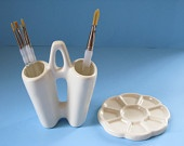 SET of One White Paint Brush Holder and Paint Palette- The Artist's Accessory - hand made