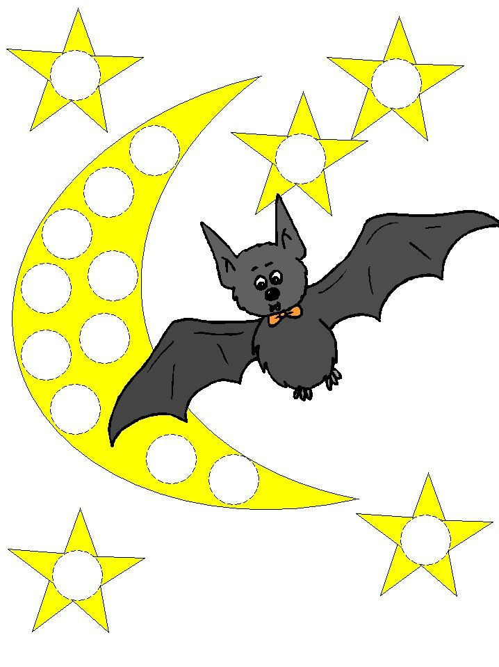 Bats themed Bingo Dauber Coloring Pages Use bingo daubers