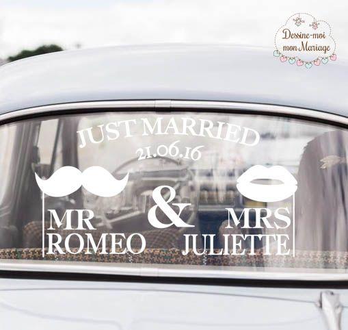 """☆☆ Stickers pour voiture mariage """"Mr & Mrs"""" ☆☆ personnalisable avec vos textes pour décorer la voiture qui vous mènera à votre mariage. Existe en 2 tailles et 2 coloris. A partir de 20,90€. https://www.dessinemoimafete.fr/decoration/37-mr-mrs-stickers-de-voiture-personnalise.html"""