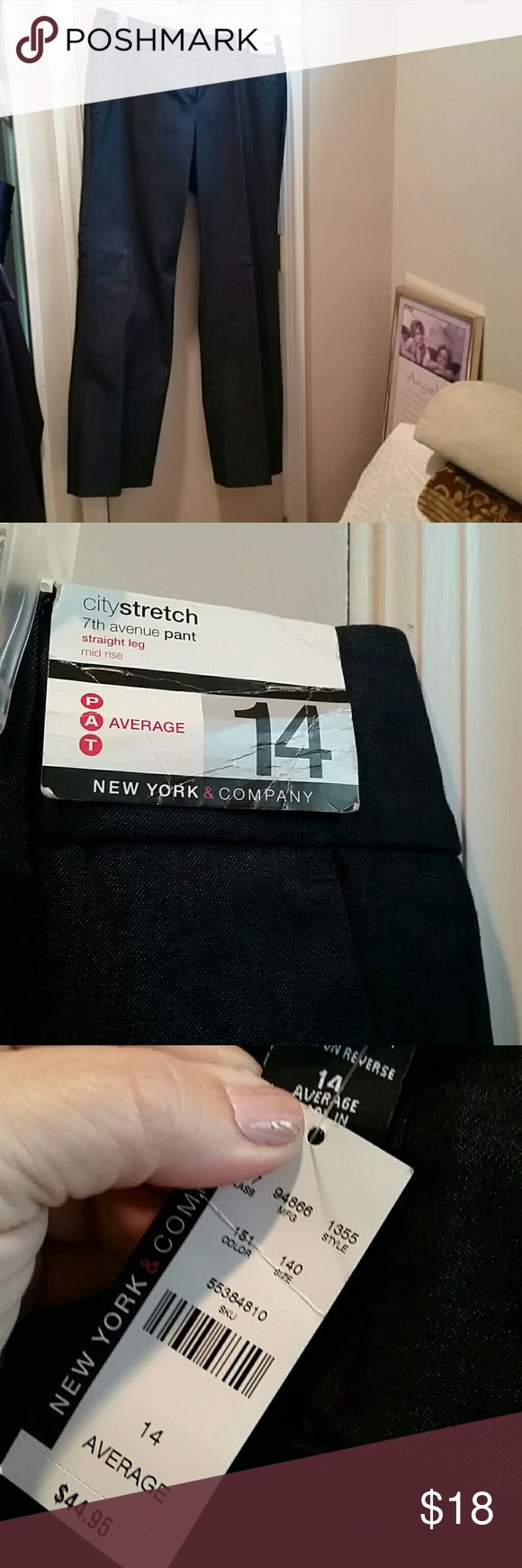 NY & Co. 7th Avenue Stretch Leg Denim Pants These are midrise, cotton/polyester/spandex pants/jeans.  They are perfect for office attaire or casual wear and an average size 14. New York & Company Jeans Straight Leg