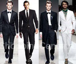 Чёрный вечерний мужской костюм-двойка рубашка галстук с брошью