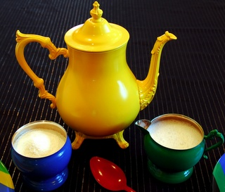Paint an old tea pot set - ingenious way to make old stuff feel new again.