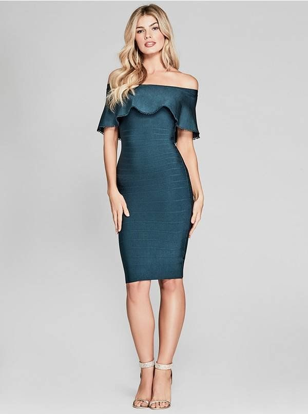 Achieve an on-trend night-out look in this off-the-shoulder bandage dress featuring scalloped trim detail and a figure-hugging fit. Back zipper closure and super-stretch construction | MARCIANO.com