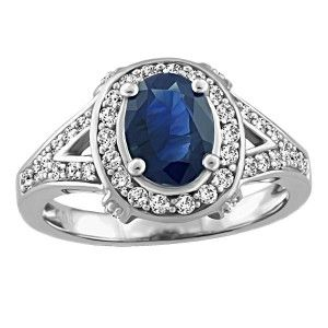 14KT White gold 0.40 ctw diamond and sapphire ring. RIN-LGM-2666