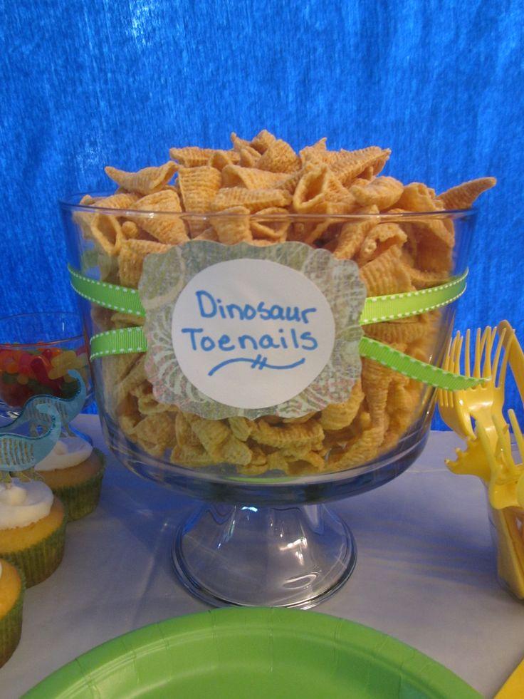 Dinosaur Toenails (aka bugels)! Great idea for a kid's dinosaur themed party!
