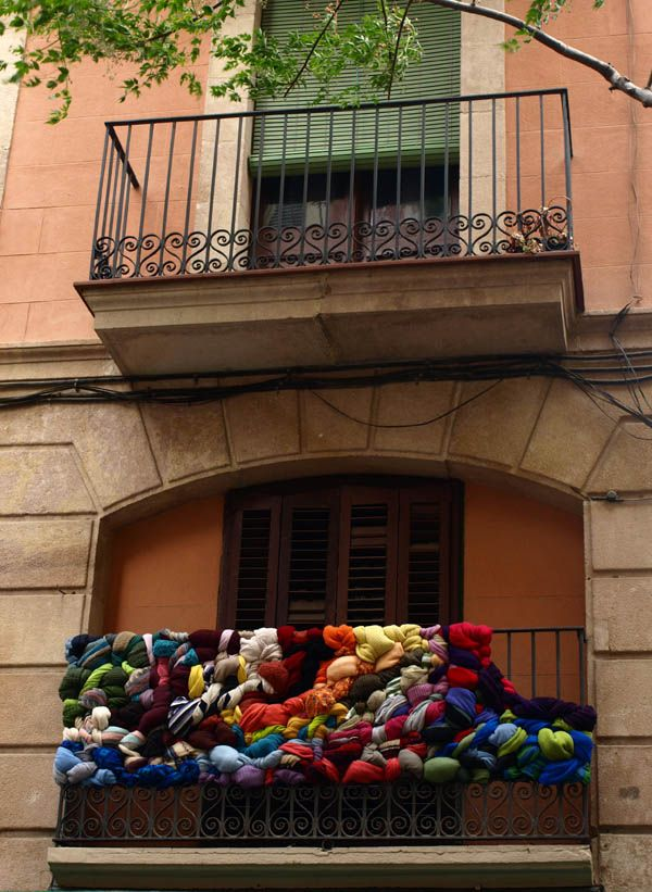 City installations and textile design made with recycled clothes and different objects by Textilkontak !