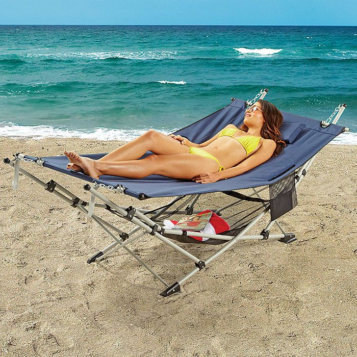 I so want this!.....Portable Beach Hammock with Stand & Mesh Shelf $130
