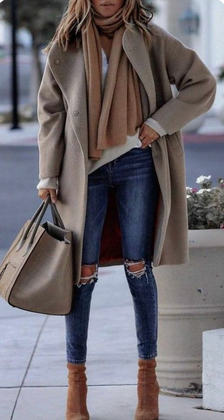wireless camel coat, cashmere scarf, oversized bag …. great street style dress