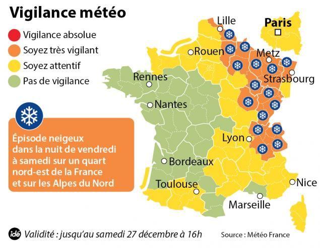 La carte de vigilance de Météo France