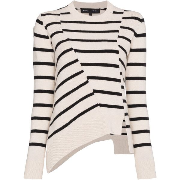 Proenza Schouler stripe asymmetric jumper (9 735 SEK) ❤ liked on Polyvore featuring tops, sweaters, white, white sweater, jumper tops, stripe sweater, white jumper and proenza schouler