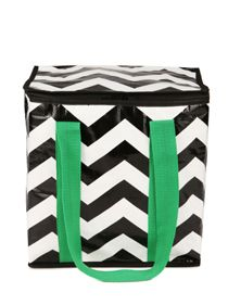 Tote Bag - Insulated cooler black and white chevron